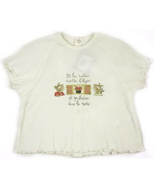 18m : Catimini *Baby Mini* Cream S/S Ribbed Tee Shirt