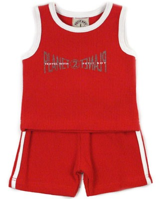 1y: Petit Boy Red Waffle Tank and Short Set