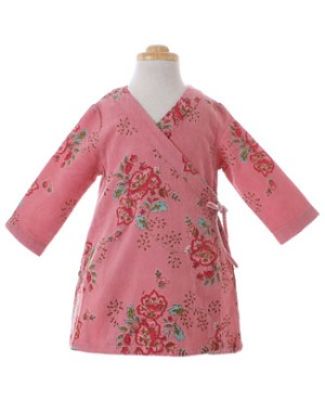 Room Seven Pink Bouquet L/S Corduroy Cross Over Dress