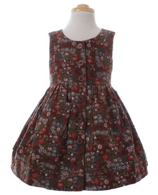 Room Seven Brown Floral Corduroy Sleeveless Dress