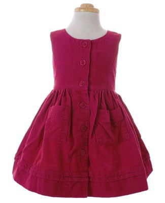 Room Seven Raspberry Floral Corduroy Sleeveless Dress
