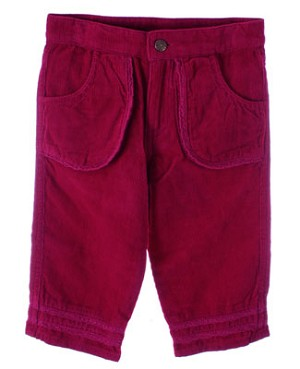 Room Seven Raspberry Corduroy Pants With Lace