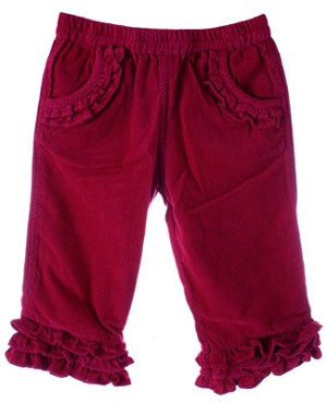 Room Seven Raspberry Corduroy Pants With Frills
