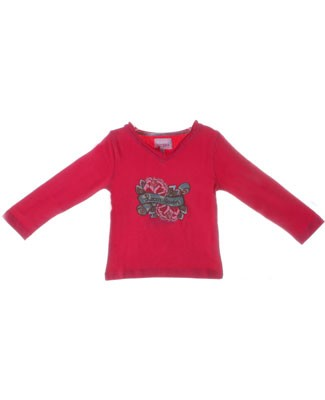 Room Seven Fuchsia Rose Print L/S V-Neck Top