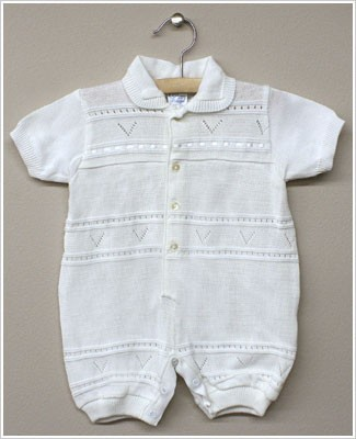 Rudin Needlecraft White Knit Romper w/ V design