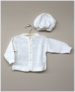 Rudin Needlecraft White Knit Cardigan w/ V design and Hat set