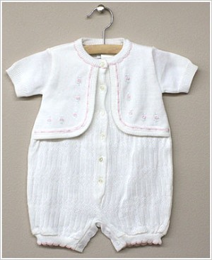 Rudin Needlecraft White Knit Romper w/ Attached Cardigan