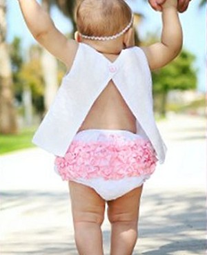 Ruffle Butts White Woven Swiss Dot Swing Top & Matching Diaper Cover w/ Pink Ruffles Set