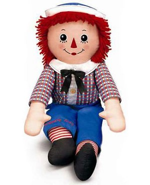 Russ Plush Raggedy Andy Doll with Button Eyes