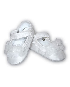 Sarah Louise White Tri-Flower Baby Shoe *DARLING*