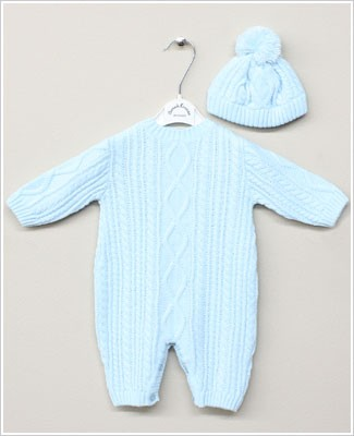 Sarah Louise Blue Sweater Romper with Beanie