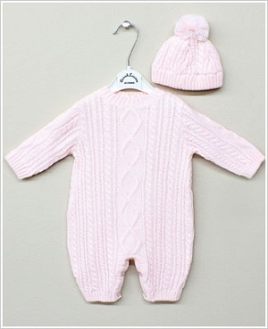 Sarah Louise Pink Sweater Romper with Beanie