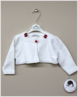Sarah Louise White Cardigan Shrug with Red Bows