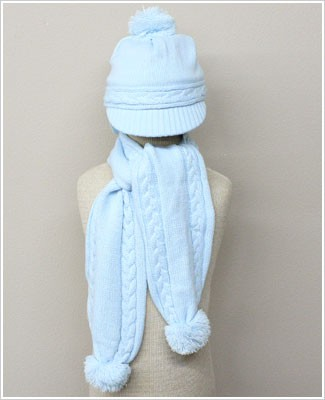 Sarah Louise Blue Infant Beanie Cap and Scarf Set