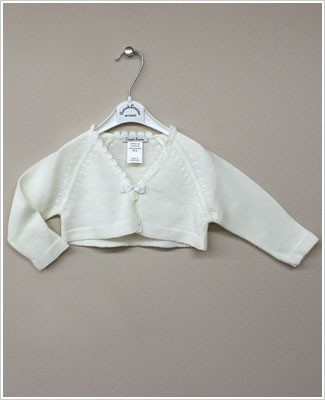 Sarah Louise Ivory Cardigan Shrug with Bow