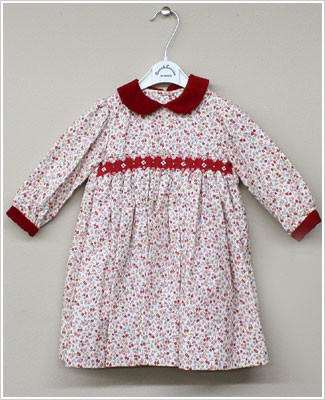 Sarah Louise Red Floral Smocked Dress