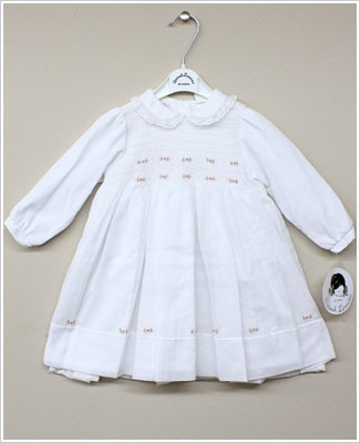Sarah Louise White Smocked Dress with Flowers