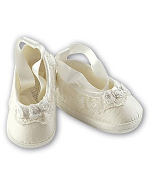 Sarah Louise Ivory Flower Lace Up Shoes