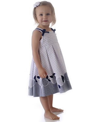 Sarah Louise White Sleeveless Pleated dress with Navy Dots and Apples