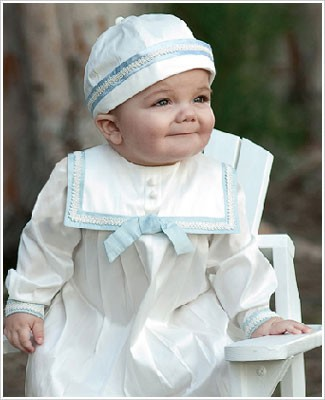 Sarah Louise Ivory and Blue BOYS Silk Christening SHORT SLEEVE Romper with Beanie