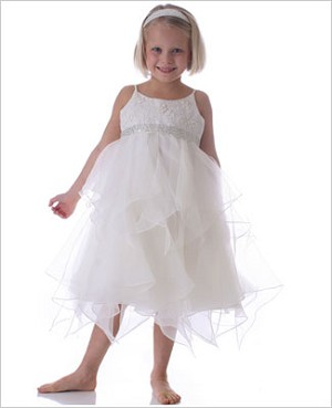 Sarah Louise Ivory Sleeveless Layered Petal Dress with Headband