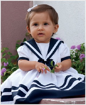 Sarah Louise White and Navy Sailor Dress