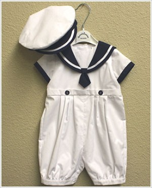 Sarah Louise White and Navy Sailor Romper & Hat