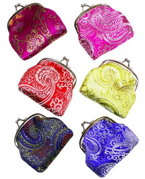 Schylling ANTIQUE PRINT Silk Design Coin Purse *Many Colors!*