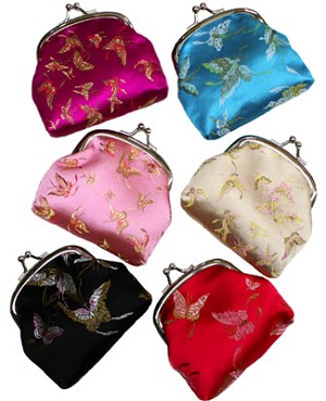 Schylling BUTTERFLY PRINT Silk Design Coin Purse *Many Colors!*