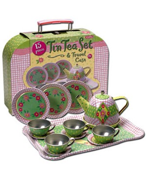 Schylling Pink Plaid Tin Tea Set in Case