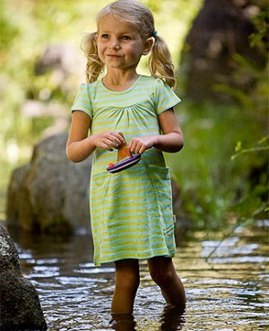 Scout Aqua & Leaf Green Stripe Discover Dress w/ Pockets
