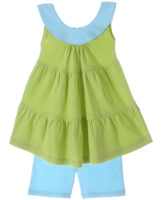 Scout Leaf Green Tiered Tunic w/ Aqua Collar & Aqua Short Set
