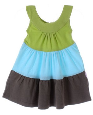 Scout Leaf Green/Aqua/Taupe Tiered Play Dress
