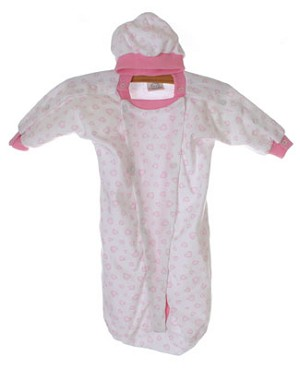 II: Sew Sweet Stitches *Preemie* Pink Heart Hospital Nightie W/ Beanie