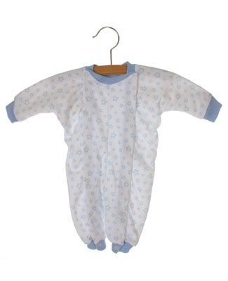 II: Sew Sweet Stitches *Preemie* Blue Stars Double Snap Romper