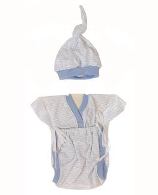 II: Sew Sweet Stitches *Preemie* Blue Striped Sweet-T Tie Bodysuit and Beanie Set