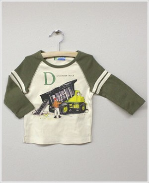 She's The One L/S Tan/Olive *D is for DUMP TRUCK* Raglan Tee