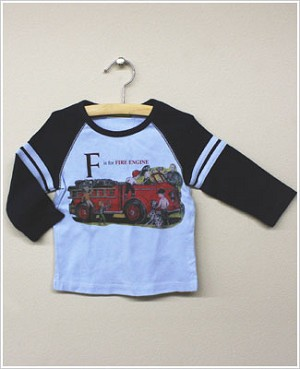 She's The One L/S Light Blue/Navy *F is for FIRE ENGINE* Raglan Tee