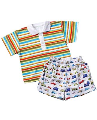 Snopea Speed Up Striped Polo Tee and Knit Short Set