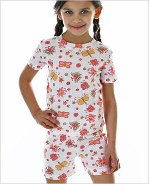 II: Baby Lulu ETCHED ROSE BUTTERFLY Short Set Jammies