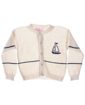 R: Sophie Dess Beige With Navy Sailboat Button Up Knit Sweater