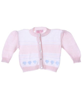 R: Sophie Dess Light Pink Button Up Knit Sweater With Stripes And Hearts