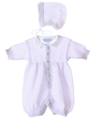 R: Sophie Dess Lavender Knit Romper With Bonnet