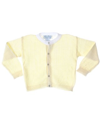 R: Sophie Dess Yellow With White Accent Button Up Knit Sweater