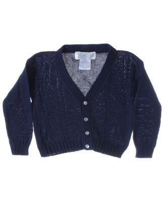 R: Sophie Dess Navy Button Up V-Neck Knit Sweater