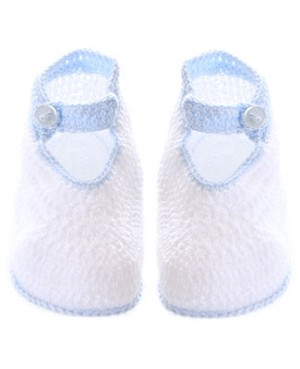 R: Sophie Dess White Knit Booties With Light Blue Trim