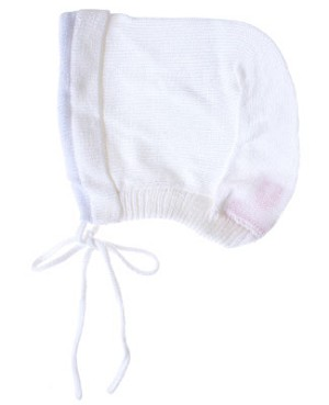 R: Sophie Dess White With Lavender Trim Knit Bonnet