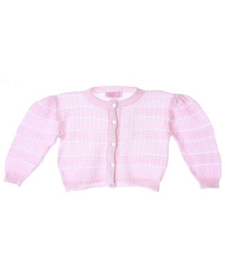 R: Sophie Dess Light Pink Striped Button Up Knit Sweater