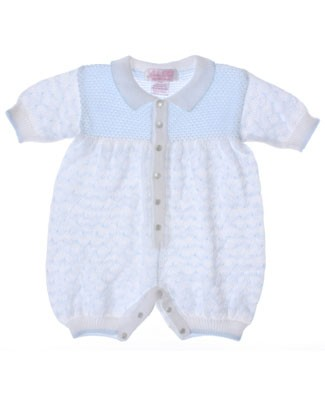 Size 12m: Sophie Dess White And Blue Knit Romper