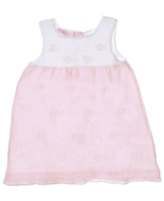 Sophie Dess Sleeveless White/Pink Knitted Dress w/ Dots